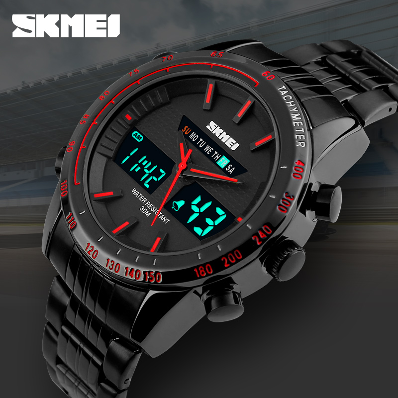 ab16bf24d SKMEI Fashion Mens LED Digital Dual Display Wristwatches Quartz Watch 30M  Waterproof Military Multifunctional Men Sports Watches