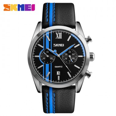 SKMEI Men Quartz Wristwatches Leather Strap Calendar Stop Watch Waterproof Clocks Fashion Sports Watches 9148 Relogio Masculino