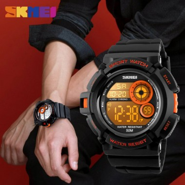 Skmei 1222 Men Sport Watch Fashion Digital Wristwatches Big Dial Watches 7 Color LED Light Shock Resistant Chronograph Man Clock