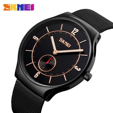SKMEI Top brand Luxury Men's waterproof Wristwatches Ultra Thin Stainless Steel Clock hour for Man Male Quartz Relogio Masculino