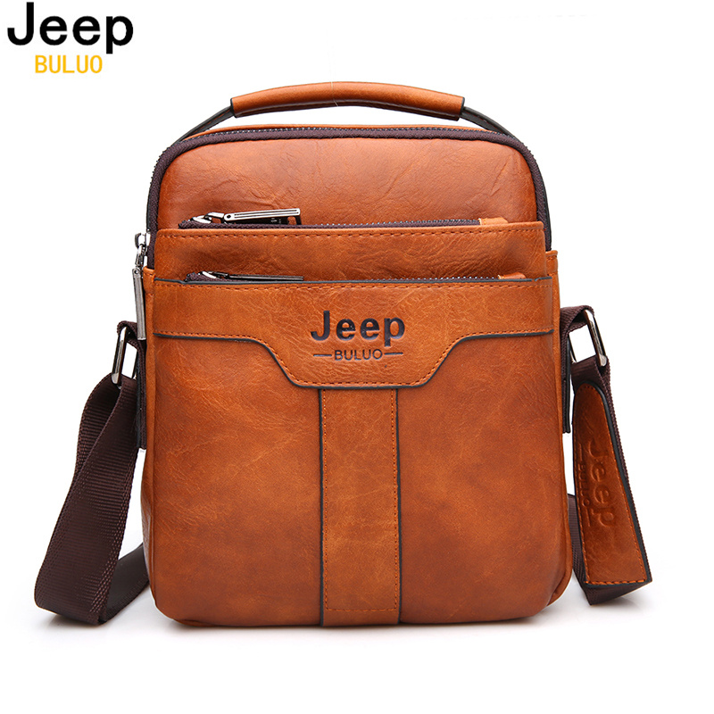 Jeep Chest Bag Man Leather Casual Messenger Large Capacity Bag  black