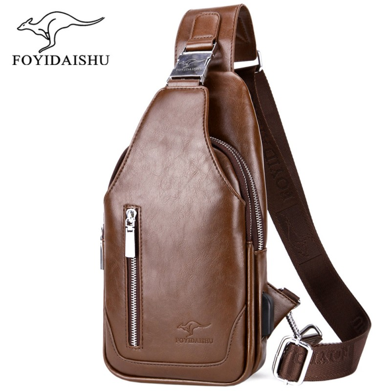 Mens Crossbody Messenger Bags PU Leather Male Casual Business Chest Pack Vintage