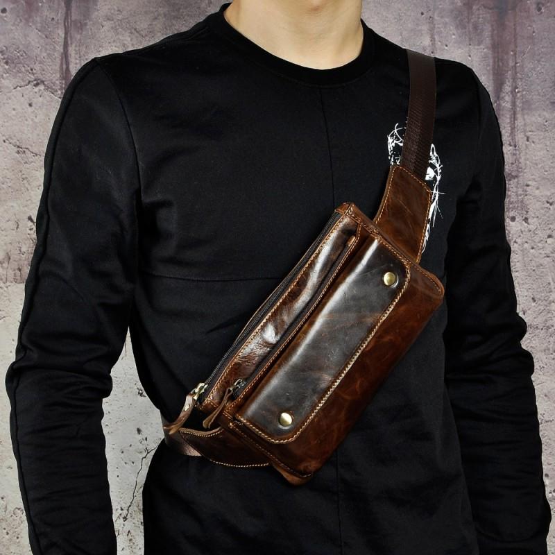 0fb7b07d6da Real Leather men Casual Design Waist Belt Bag Chest Pack Fashion ...